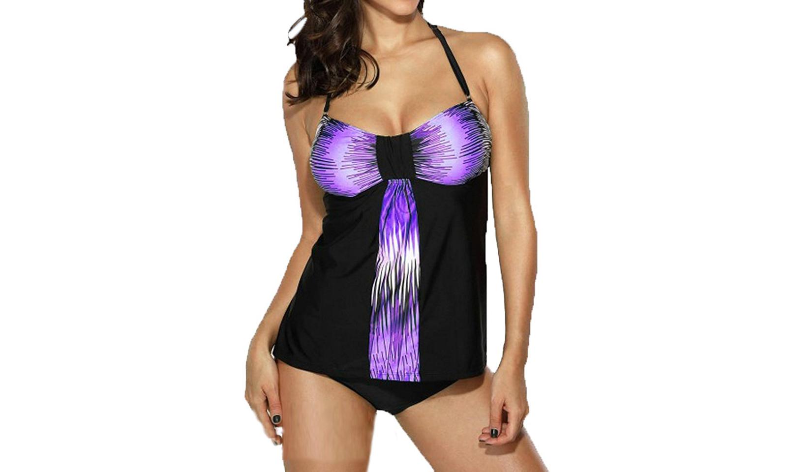 Women's Halter Tankini Swimdwear Two Piece Tankini Top Bikini Bottom Plus Size S