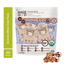 MadeGood Granola Minis Club Pack 20 ct, 0.85 oz. each; 10 Bags Chocolate Chip an