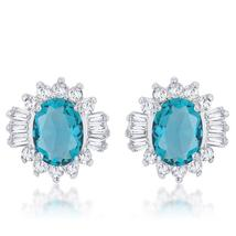 Chrisalee 3.3ct Aqua CZ Rhodium Classic Stud Earrings - $23.00