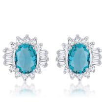 Chrisalee 3.3ct Aqua CZ Rhodium Classic Stud Earrings - $23.00