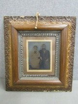 Antique 1900 Framed Photograph of a Man & Woman Color United States image 1
