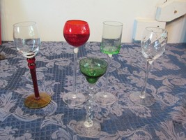 Lot of 5 Tall Elegant Stemware Cordial Glasses Each Different Shape & Color - $19.87