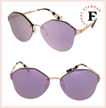 PRADA CINEMA Rose Gold Violet Mirrored Metal Oversized Sunglasses 64T PR... - $212.85