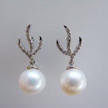 Diamond Akoya Pearl Earrings .27Ct 14k W/g - $452.00