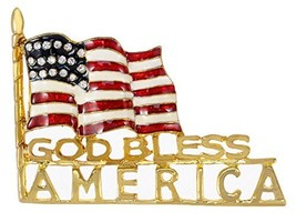 Alilang Golden Tone Clear Rhinestone Stripes Enamel God Bless America US... - $24.09