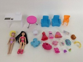 Mattel Polly Pocket Office Playset 24pc Lot Dolls & Accessories Toy Dollhouse - $24.90