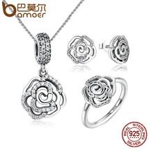 BAMOER Original 925 Sterling Silver Jewelry Set Shimmering Rose Petals F... - $52.31