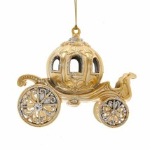 "KURT ADLER 5"" METALLIC GOLD CARRIAGE w/GEMSTONES GLITTERED XMAS ORNAMENT... - $9.88"
