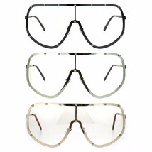 Metal Rim Oversize Shield Clear Lens Racer Eye Glasses - $13.95