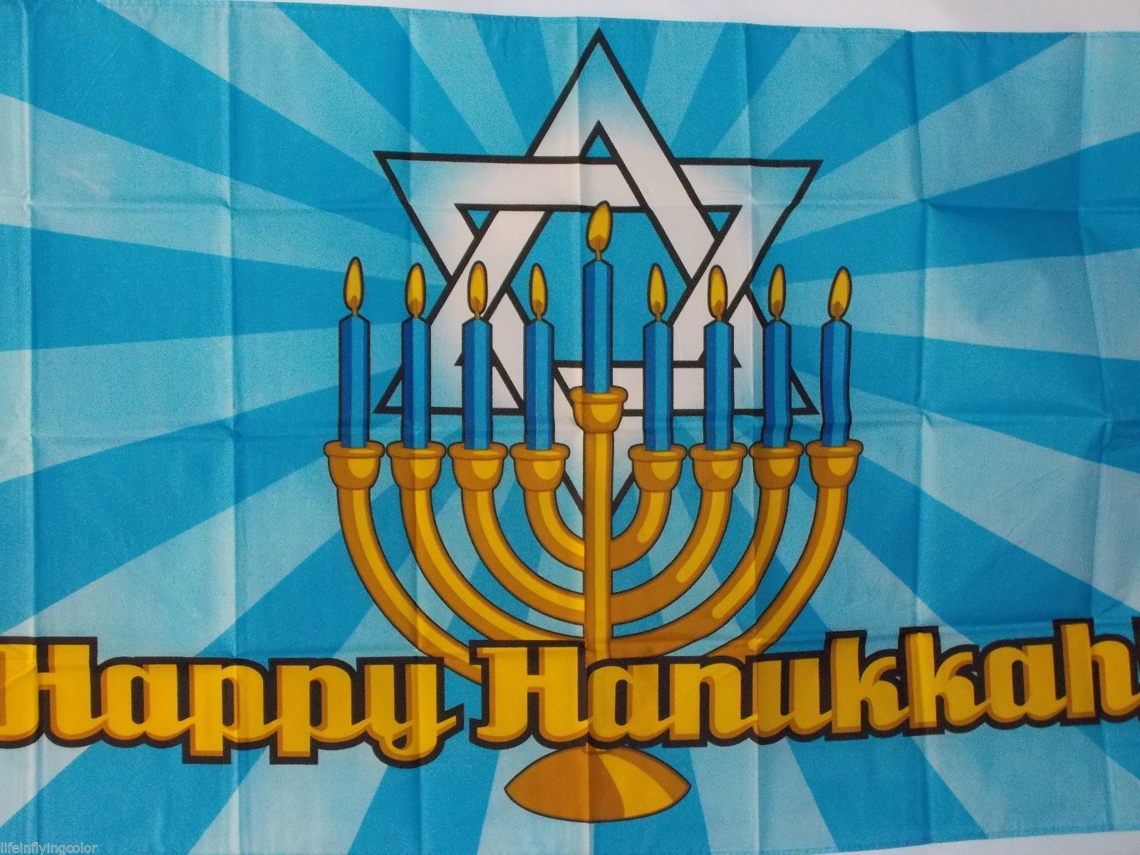 HAPPY HANUKKAH 3X5' FLAG BANNER NEW FESTIVAL OF LIGHTS JEWISH HOLIDAY