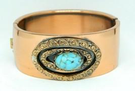 Pcraft Faux Turquoise Glass Cabochon Clasp Bangle Bracelet Copper Tone - $19.79