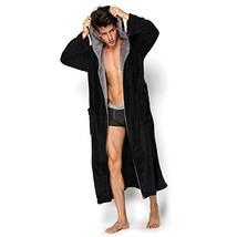 Hooded Herringbone Men's Black Soft Spa Full Lenght Bathrobe With Grey K... - $31.54