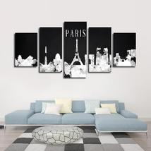 Framed 5 Piece Paris Watercolor Skyline Picture Poster Canvas Wall Home ... - $104.39 CAD+