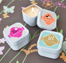 Personalized Themed Square or Round Candle Tin Bridal Shower Wedding Favor - $77.24+
