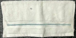 "Fieldcrest White Wash Cloth with Aqua Stripe Accent 13"" x 13"""