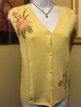 Napa Studio Yellow Cotton Blend Embroidered Sweater Vest Size S New With Tags image 5