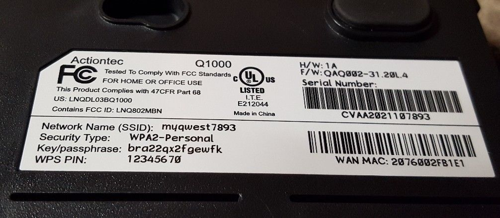 Qwest Actiontec Centurylink Q1000 DSL and 50 similar items
