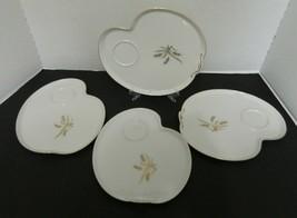 Hakusan China Gold Wheat #9675 Snack Patio Plates No Cups Gold Trim Japa... - $32.12