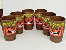 Tiki Mai Tai Bob Chinn's World Famous Set of Six Large Cups Plastic Mug 6 - $35.99