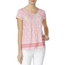 Charter Club Womens Metallic Embroidery Pleated Pullover Top, Small - $18.80
