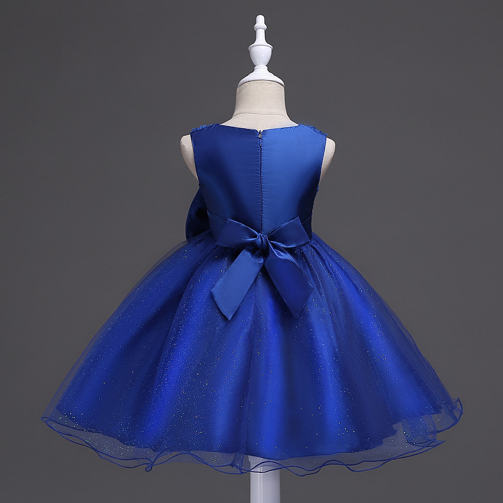 Pricess Lace Royal Blue Satin Short Flower Girl Dress 2018 O-Neck Party Gowns  image 3