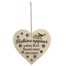 Wood Sign Plaque - Robins appeal when last loved ones are near Wall Deco... - $9.99