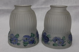 Pair of Victorian Frosted Embossed Reverse Painted BLUE FLOWER Glass Lam... - $59.99