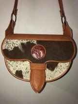 VTG Large Colombian Carriel Tan Leather & Brown White Fur Unisex Saddle Bag - $150.00