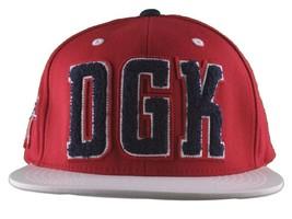 DGK Dirty Ghetto Kids Mens Red White Navy Graduate Snapback Baseball Hat NWT