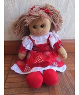 House of Bruar Scotland Rag Doll NWT Red Heart Jumper Dress Pig Tails cute - $49.69