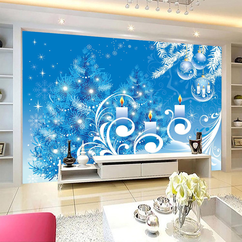 3d weihnachten blaue kerze 34 fototapeten wandbild bild tapete familie kinder wallpaper murals - Wandbild familie ...