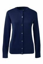 Lands End  Women's LS Supima Crew Cardigan Sweater Celestial Blue New - $34.99