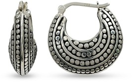 Womens Sterling Silver Antique Finish Light Weight Tribal Hoop Earrings Jewelry - $49.00