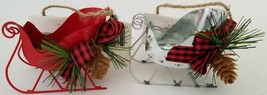 Christmas Ornaments Metal Sleighs w Pine Cones1 Ct/Pk, Select: Red or Silver - $2.99