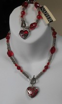 Vintage Signed Napier Silver-tone Red Bead Heart Necklace & Stretch Brac... - $39.60