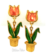 Avon Vintage Pink Tulip Earrings With Bright Green Enamel Leaves  - $17.00