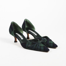 "Manolo Blahnik ""Butterflanny"" Plaid Wool D'Orsay Pumps SZ 39.5 - $235.00"