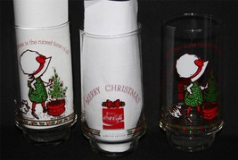 3 Vtg Holly Hobbie Christmas Coca Cola Footed Glass Tumblers Limited Edi... - $15.99