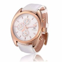 EMPORIO ARMANI ROSE GOLD TONE,WHITE LEATHER BAND,CHRONOGRAPH WATCH AR5956 - $232.65
