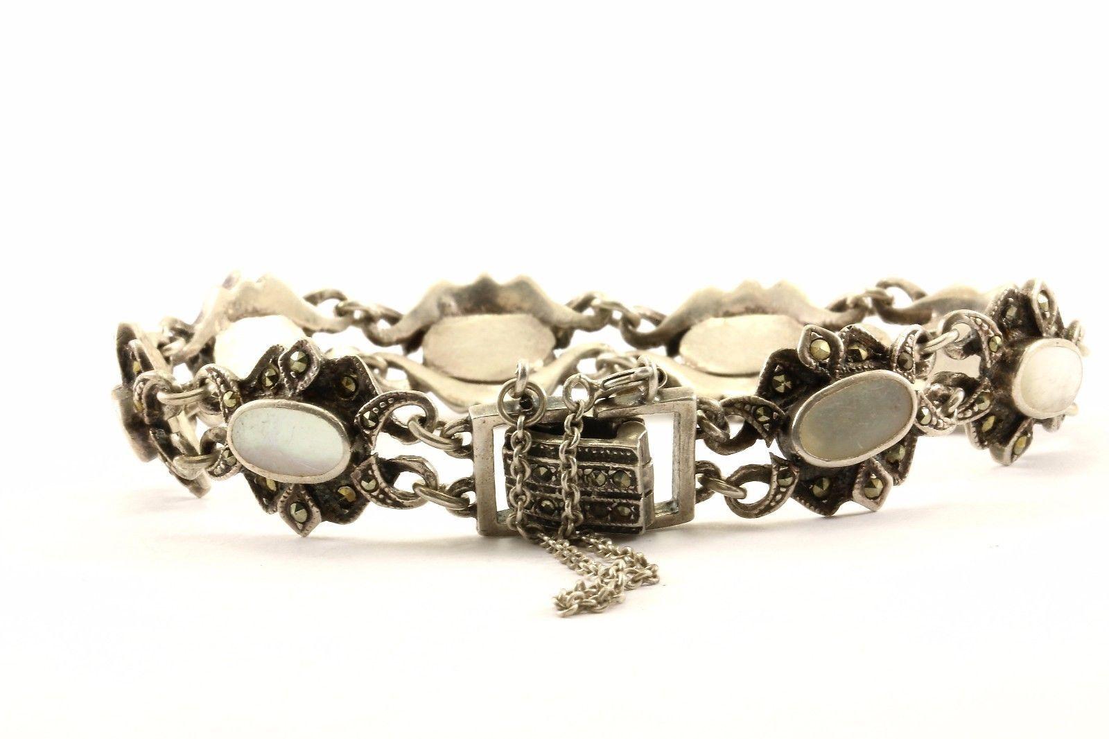 Vintage Floral Design Mother of Pearl Marcasite Bracelet Sterling Silver BR 2915