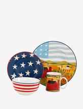 Beautiful Americana Patriotic 16 Piece Ceramic China Dinnerware Set Serv... - $149.99