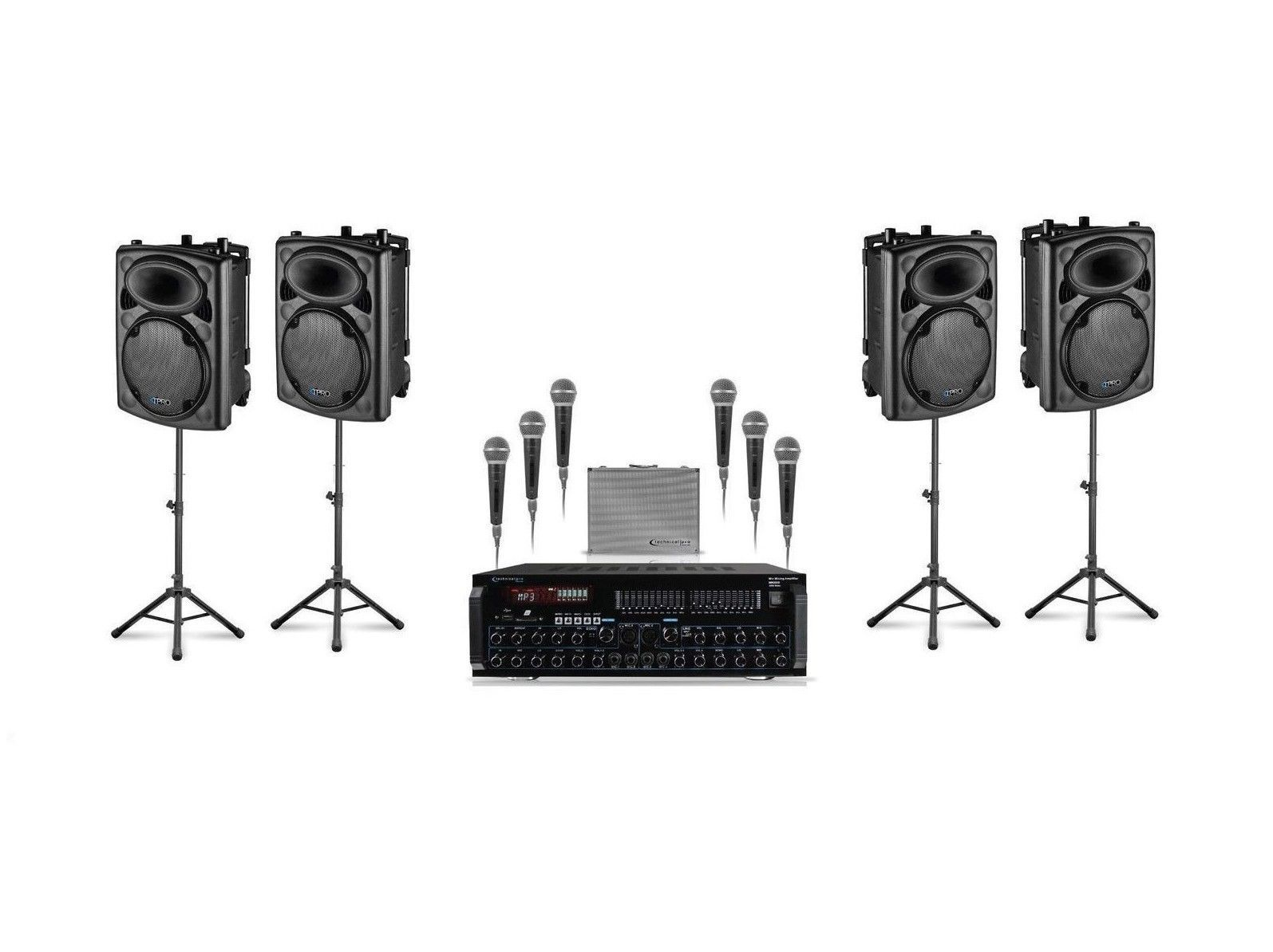 "Technical Pro QUAD 12"" Stage Speaker Amplifier 6 Microphone DJ 3000w Package"