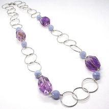 SILVER 925 NECKLACE, FLUORITE OVAL FACETED PURPLE, CHALCEDONY, 27 5/8in image 3
