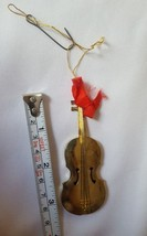 VINTAGE MUSICAL VIOLIN Christmas Holiday Tree ORNAMENT • pre-owned • bea... - $14.92