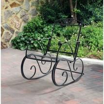 Outdoor Rocking Chair Patio Rocker Wrought Iron Black Porch Metal Garden... - $107.64