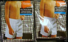 Hanes Boys 2pk Woven Boxers Plaid Size Medium 60-85lbs NIP - $8.72