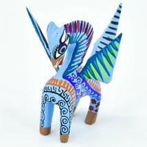 Handmade Alebrijes Oaxacan Wood Carved Folk Art Pegasus Flying Horse Figurine image 2