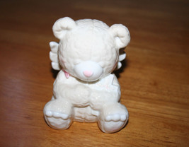Coin Bank Praying Angel Bear with Wings Holding a Cross Porcelain - 4 3/... - $8.99