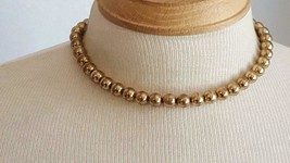 """15"""" Vintage Rustic Metal Goldtone Round Bead Strand Choker Necklace, 5/16"""" Beads - $4.94"""