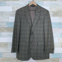 Jos A Bank Wool Sport Coat Jacket Gray Two Button Prince Of Wales Check ... - $74.24